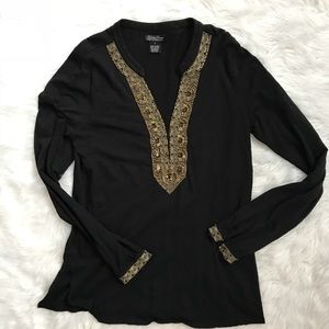 Lucky Brand Black Embellished Tunic Long Top